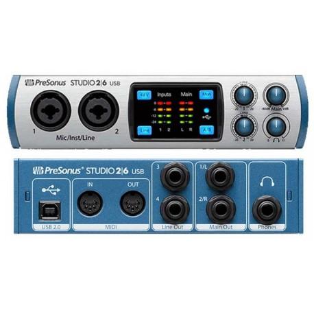 PRESONUS Studio 2/6 interfaccia audio USB 2x4 con 2 preamp microfonici XMAX-L
