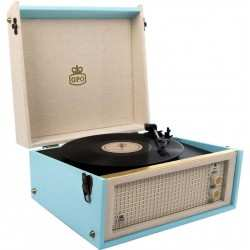 GPO BERMUDA ANTIQUE RECORD PLAYER giradischi retro' con recorder/player USB bluetooth blu/crema