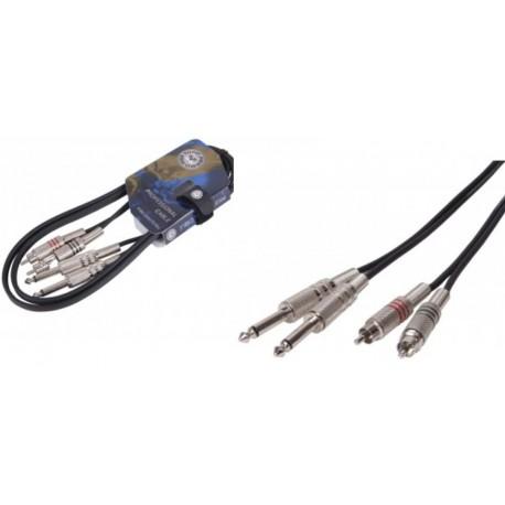 """TOPP PRO Cavo audio adattatore Stereo doppio RCA maschio - doppio jack maschio 6.3"""", colore Nero 1,5 mt. tp scx01lu015"""